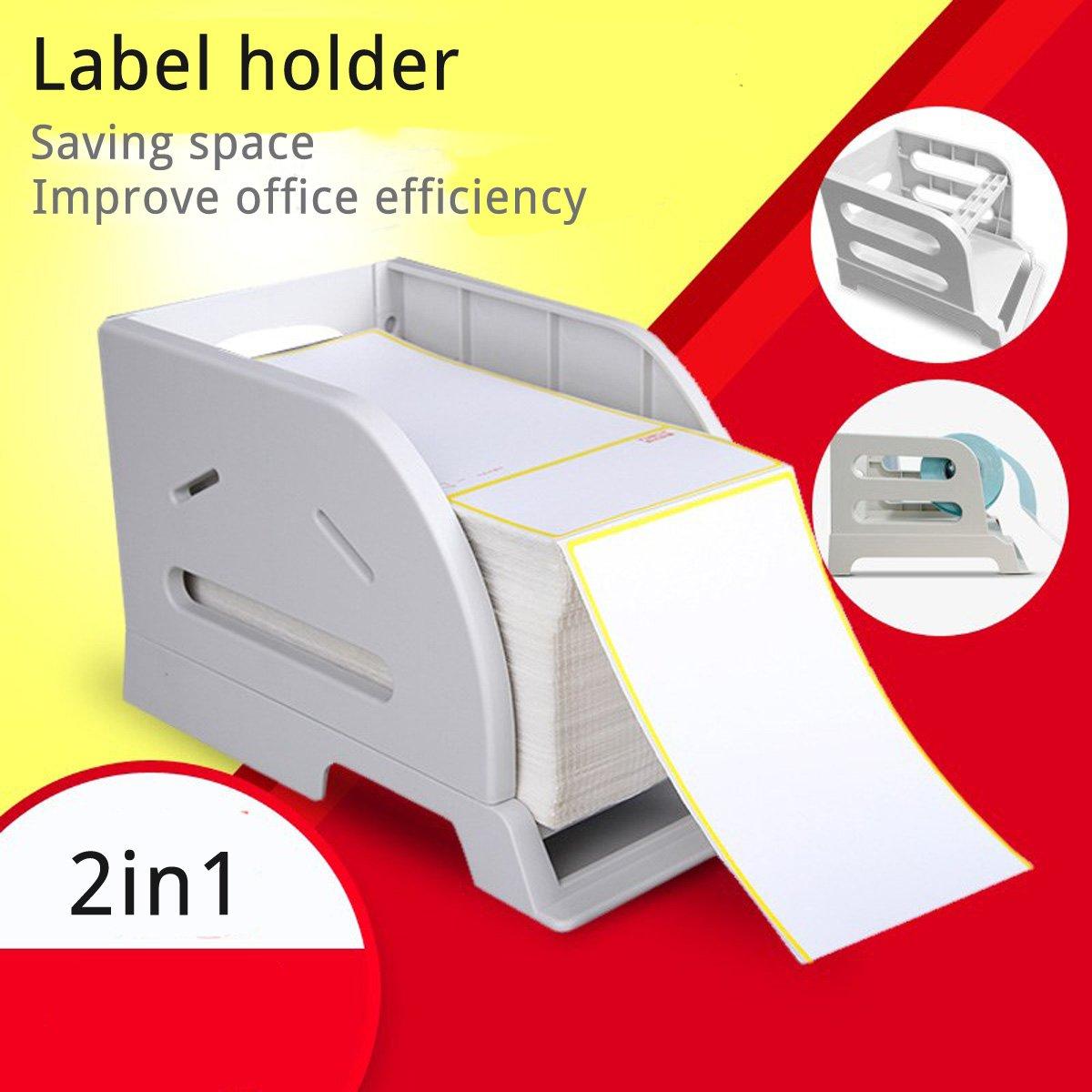 Label Holder for Rolls and Fan-Fold Labels bracket Plastic Label Paper Holder of Thermal Bar code Sticker Label Printer for Delivery, Supermarket, Pharmacy Store (2in1 Holder B)