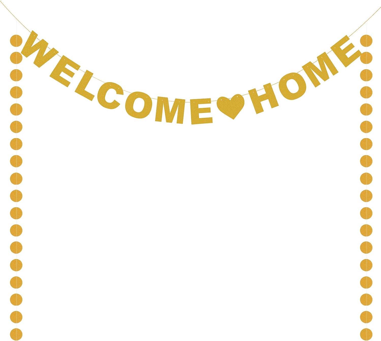MENGON Banner de bienvenida a casa Guirnalda de bienvenida a casa con letras brillantes Flores Sorpresa para la familia que regresa Belients Decoraci/ón de fiesta en la casa Reutilizable