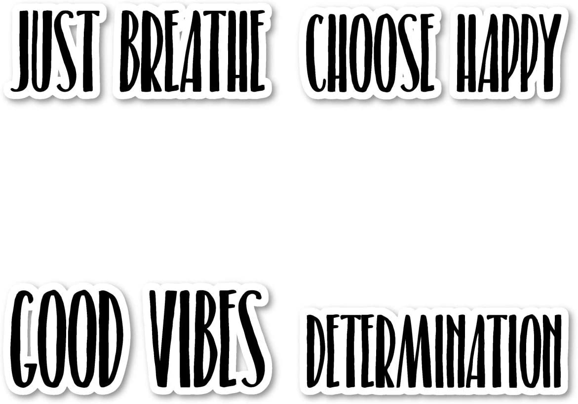 Good Vibes Just Breathe Sticker Pack Motivational Quotes Stickers - 4 Pack - Sticker Vinyl Decal - Laptop, Phone, Tablet Vinyl Decal Sticker (4 Pack) S183278