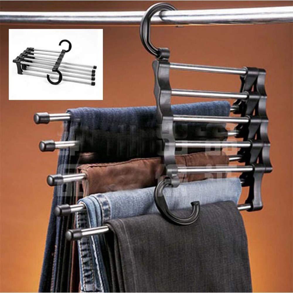 HDOUBR Magic Pants Rack Kleiderb/ügel//Rack Mehrzweckhose Garderobe G/ürtelregal Rack in 5 in 1 sparen Sie Platz