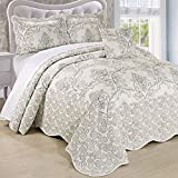 Home Soft Things Serenta Damask 4 Piece Bedspread Set, Queen, Antique White