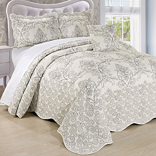Serenta Damask 5 Piece Embroidery Coverlet Set with Floral Coral Stitching, Extra 18