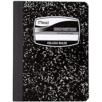 Mead Composition Book, Notebook, 100 Sheets, College Ruled, 9.75 x 7.5 Inch (9932)