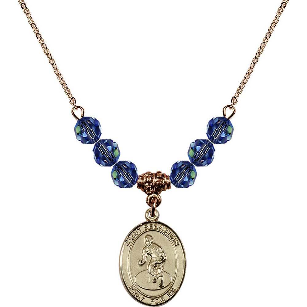 18-Inch Hamilton Gold Plated Necklace w/ 6mm Light Blue September Birth Month Stone Beads and Saint Sebastian/Wrestling Charm