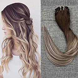 Full Shine 20 inch Clip in Hair Extensions Balayage Hair Color #4 Fading to #8 and #22 Blonde Highlighted 10 Pcs Per Set 120g Remy Full Head Clip in Extensions
