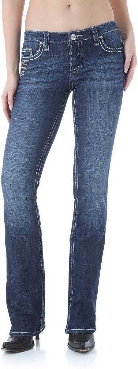 Womens Wrangler Rock 47 Mid-Rise Flare Leg Stretch Denim Jeans WFX20AB Sz 26-32