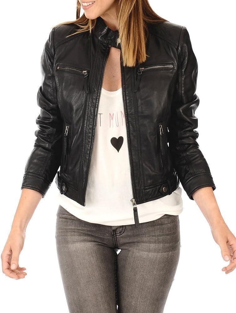 Womens Leather Jacket Motorcycle Biker Bomber Real Lambskin Leather Jacket for Women