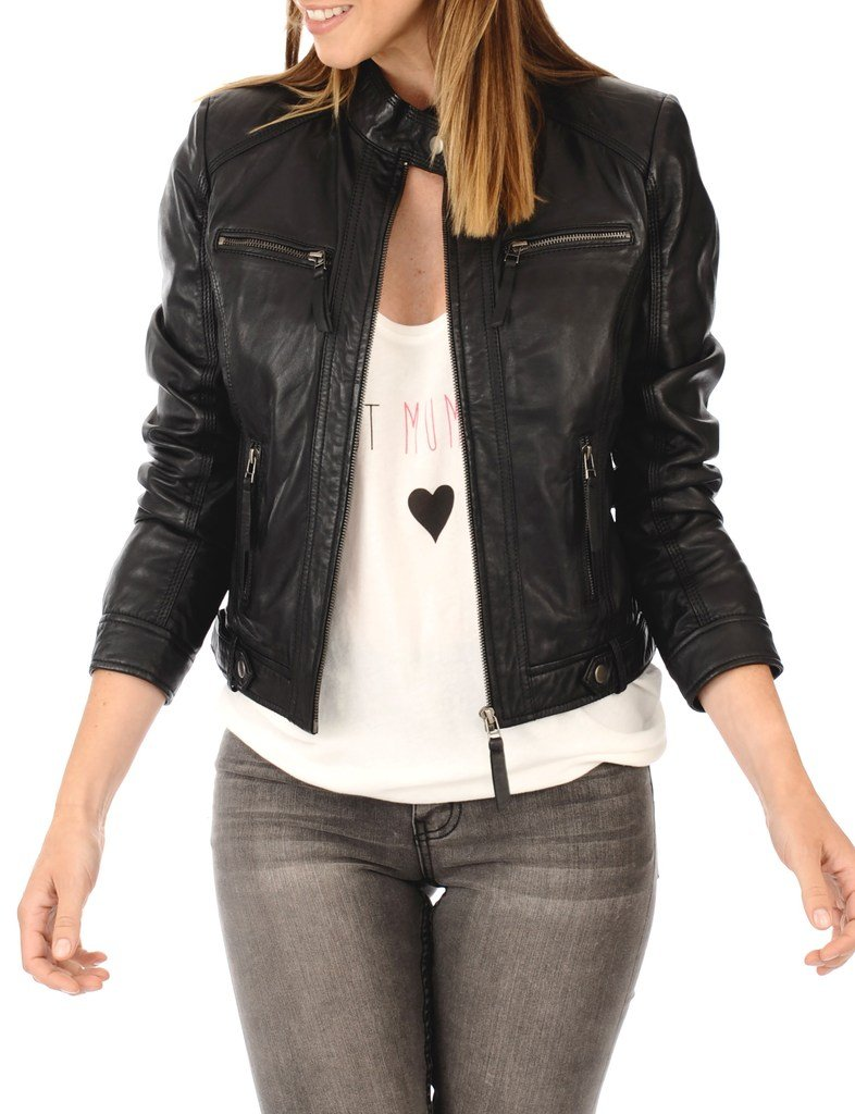Leather Planet Women's Lambskin Leather Bomber Biker Jacket Medium Black