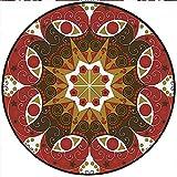 "Short Plush Round Carpet Collection Luxurious Royal Classics Stylish Summertime Exotic Arabic Style Art Bedroom Study Super Soft 70.8"" x 70.8"" Round"