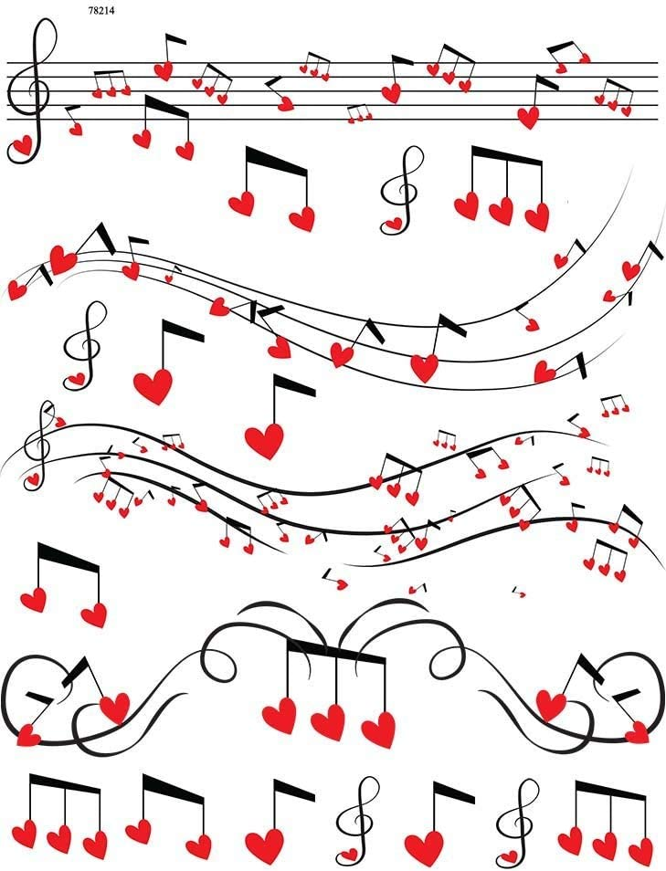 Hearts and Music or Glass Fusing Decals Glass Decal Choose Either Ceramic Ceramic Decal 78214 Images to Choose from 3 Different Size Sheet Waterslide Decal Enamel Enamel Decal