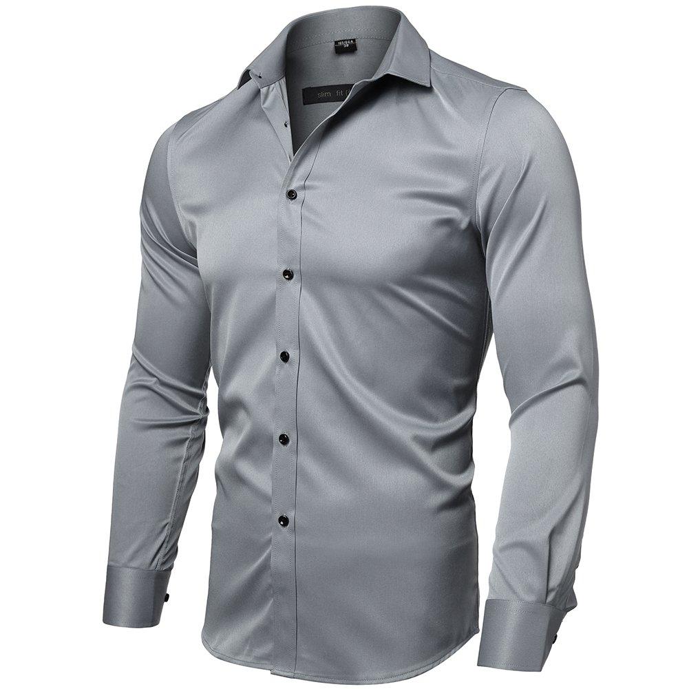 Mens Dress Shirt Slim Fit Long Sleeves Elastic Bamboo Fiber Button Down Shirts Mens shirt