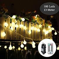 Guirnalda Luces, Tomshine 13M 100LED Luz de Cadena de Globo con Control Remoto, 8 Modos de Iluminación Diferentes, Brillo Ajustable perfecto para la Decoración de la Boda del Fiesta de Navidad