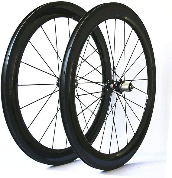 JIMAITEAM 700C Bicycle Wheelset 60mm Depth Clincher Carbon Road Bike Wheels 23mm Width Rim Sealed Bearing Carbon Fiber Wheelset for 7/8/9/10/11 Speed(60mm wheelset)