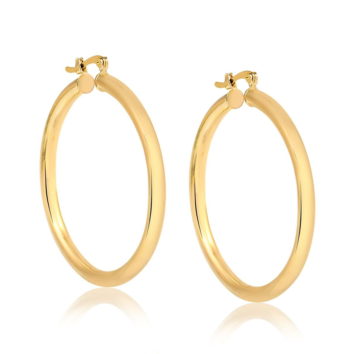 10K Solid Gold 3X30MM thick Round Hoop Earrings- French Lock Closure