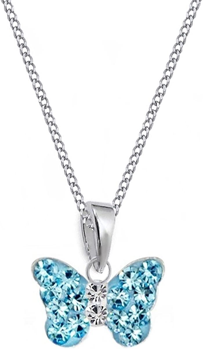 GH Kids Mini Girls Baby Blue Crystal Butterfly Pendant//Necklace 38/ /50/cm long 925/sterling silver