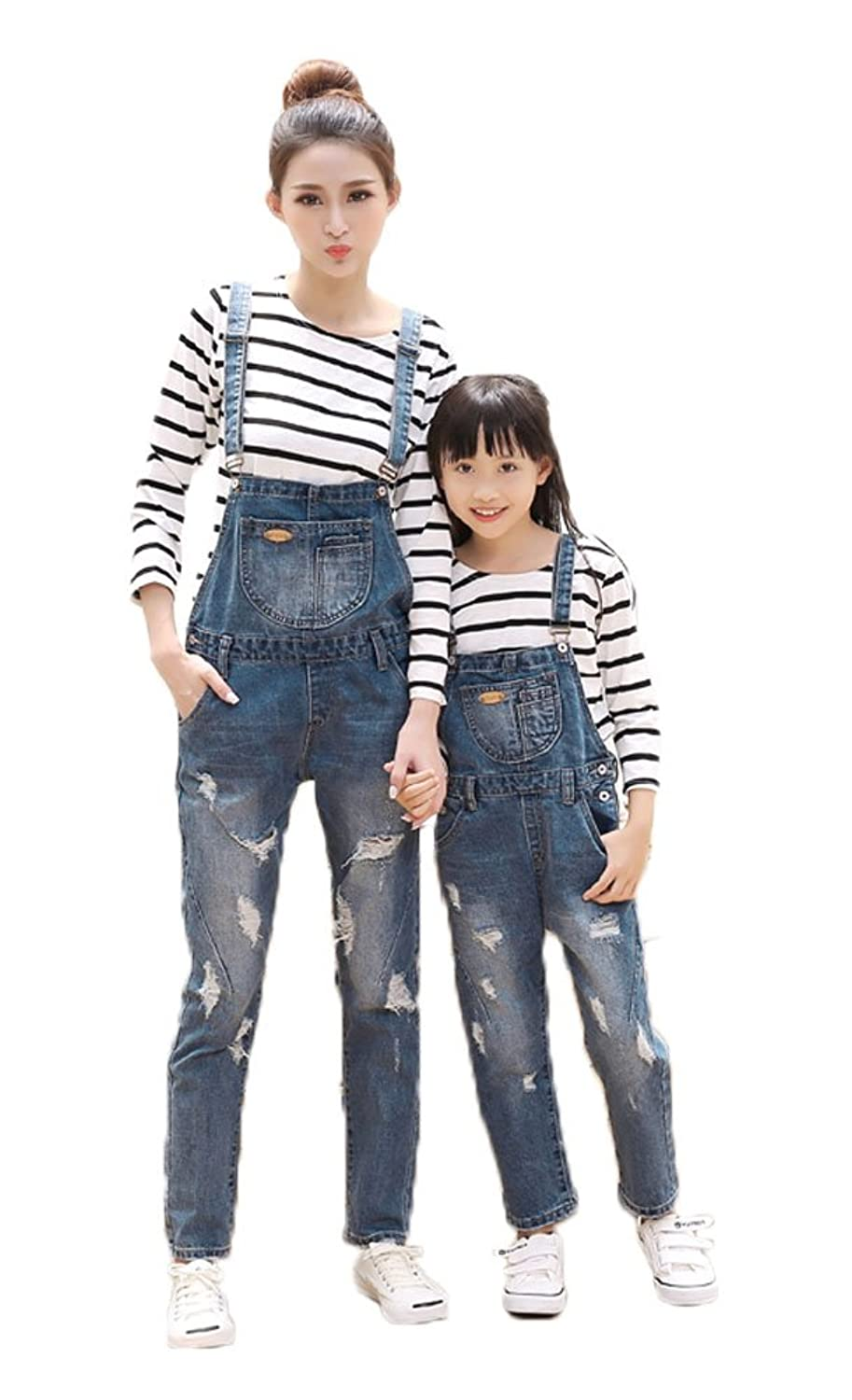 Soojun Juniors and Girls Relaxted Fit Ripped Leg Denim Overalls