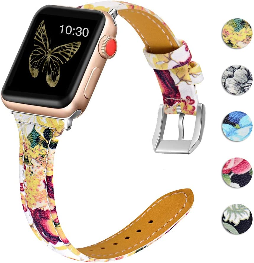 OULUCCI Leather Bands Compatible Apple Watch 38mm 40mm Slim Replacement Wristband Sport Strap for Iwatch Nike+ Series 6 SE 5 4 3 2 1 Edition Metal Stainless Steel Buckle Clasp