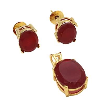 bad2b3e36 Geode Delight Red Stone Gold Plated Pendant With Stud Earrings: Amazon.in:  Jewellery