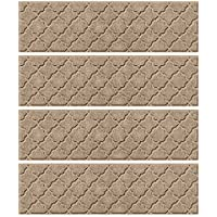Bungalow Flooring Waterhog Stair Treads, Set of 4, 8-1/2 x 30, Skid Resistant, Easy to Clean, Catches Water and Debris, Cordova Collection, Khaki/Camel