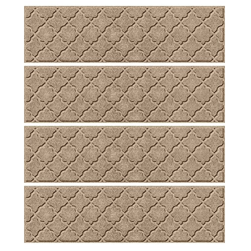 """Bungalow Flooring Waterhog Indoor/Outdoor Stair Treads, Set of 4, 8-1/2"""" x 30"""", Skid Resistant, Easy to Clean, Catches Water and Debris, Cordova Collection, Khaki/Camel"""
