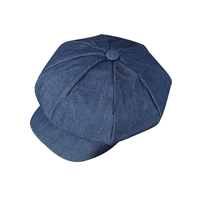 ACVIP Womens Denim Solid Color Newsboy Cap Cute Beret (Blue) at ... 56fbf17572