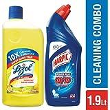 Lizol Disinfectant Floor Cleaner - 975 ml (Citrus) with Harpic Powerplus Original - 1 L