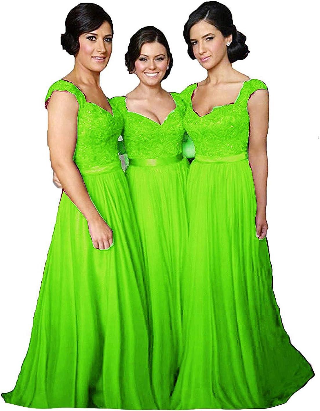 Fanciest Women' Cap Sleeve Lace Bridesmaid Dresses Long Wedding Party Gowns
