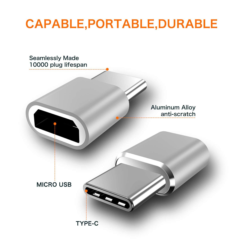 Black USB Type C Adapter,4-Pack Mini Aluminum USB C to Micro USB Convert Connector Fast Charging Compatible Samsung Galaxy S10 S9 S8 Plus,Note 9 8,Pixel 3 2 XL,LG V35 V30 G7 G6,Nexus 6P 5X,Moto Z2 Z3