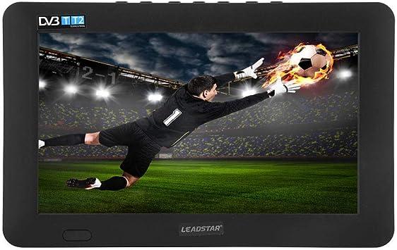 Televisor portátil DVB-T-T2, TV analógica Digital HD de 9 Pulgadas 16: 9 1080P TV para automóvil TFT LED ATV Reproductor de Video de televisión en Color, Soporte Disco U/Tarjeta TF/Entrada AV (EU):
