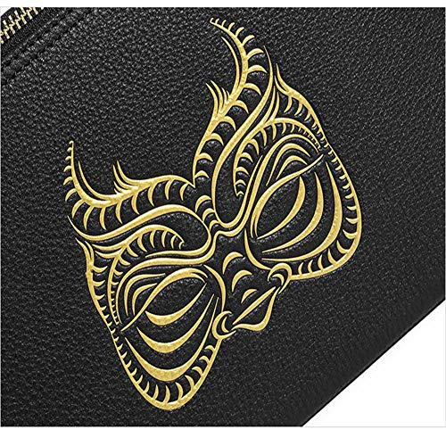 A blackgold Of Bag Colors Lhj Clutch Optional Leather Fashion Printing Double Variety onesize Zipper Men's Personality Mask Handbag Casual TxH7xqA