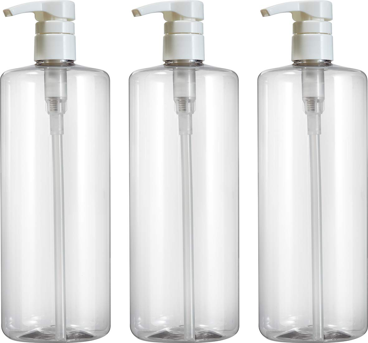 Empty Shampoo Bottles with White Lotion Pumps, Large 1 Liter/32 ounce Refillable Dispensing Containers for Conditioner, Body Wash, Hair Gel, Liquid Hand Soap, DIY Projects and Massage Lotion's (PK 3)