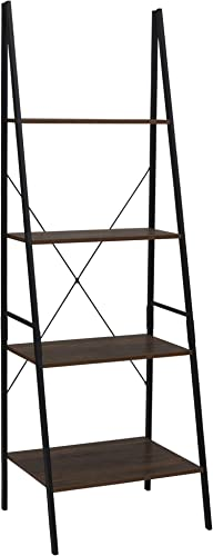 Household Essentials Hickory 4 Tier Leaning Ladder Book Shelf Black Frame