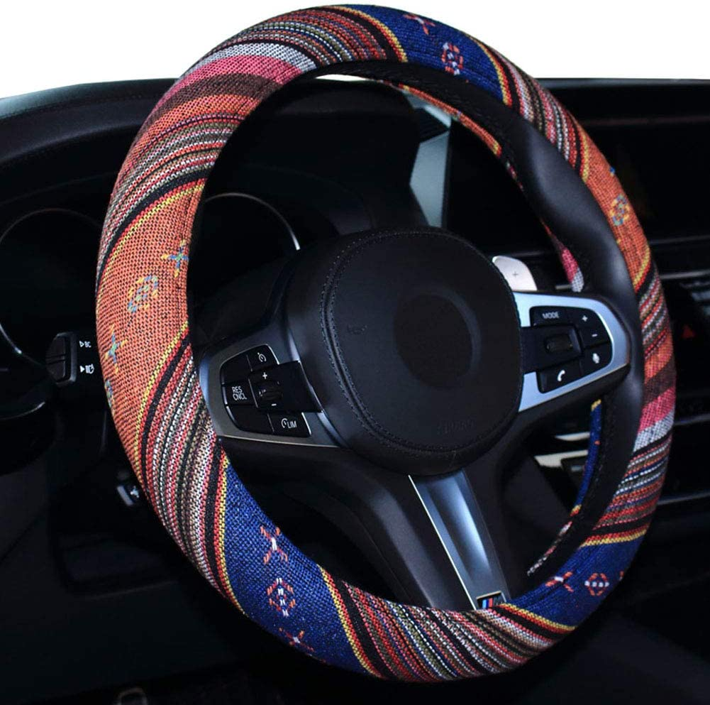 Comfortable Grip Anti-Slip Sweat Absorbing Universal 15 Inches Auto Steering Wheel Cover