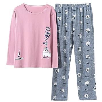 DUKUNKUN Pijamas De Manga Larga De Algodón De Dibujos Animados Conjunto Pijamas Ocasionales Suaves Flojos De
