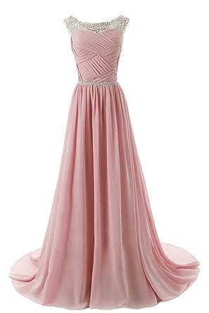 Topkleider Damen Elegant Rund Stein Paillette Chiffon A-Linie Abendkleider  Lang Partykleider Brautjungfernkleider  Amazon.de  Bekleidung 3f12b10079