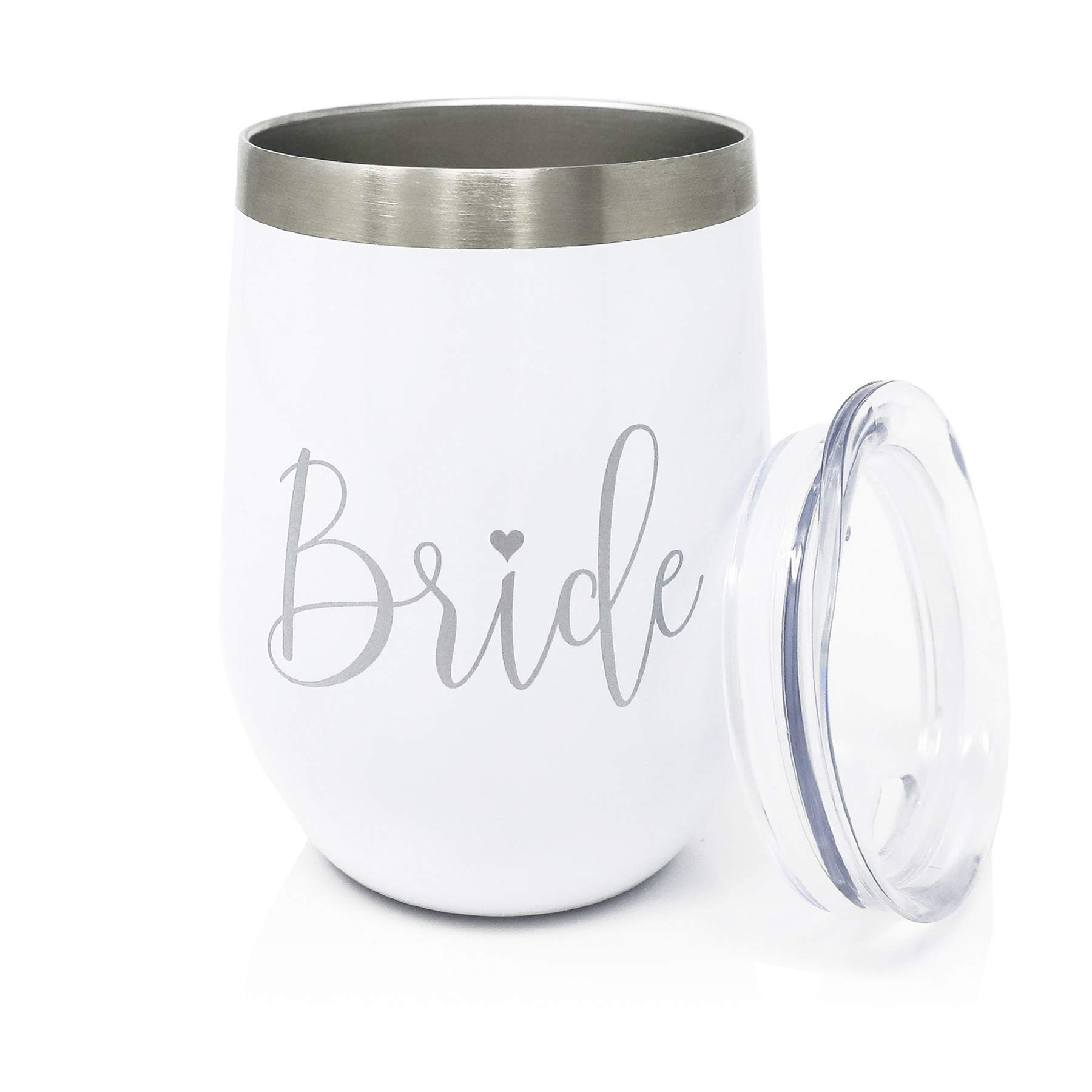 Bride Wine Tumbler with Lid - 12 oz Double Wall Vacuumed Wine, White and Silver Stainless Steel Cup, Perfect Engagement Party, Bridal Shower, Bachelorette Party or Wedding Gift - BPA FREE by Bliss Collections (Image #2)