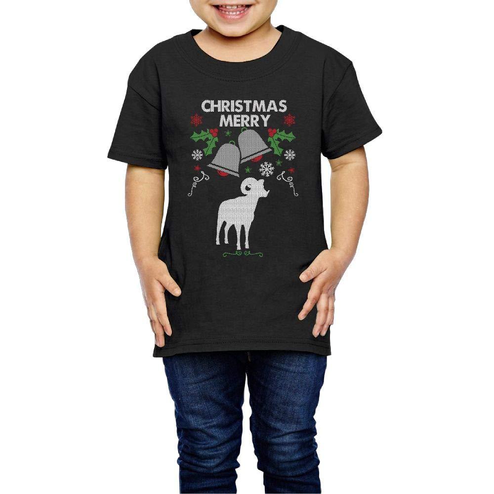 Merry Christmas Big Horn Sheep Silhouette 2-6 Years Old Kids Short-Sleeved Tee Shirt