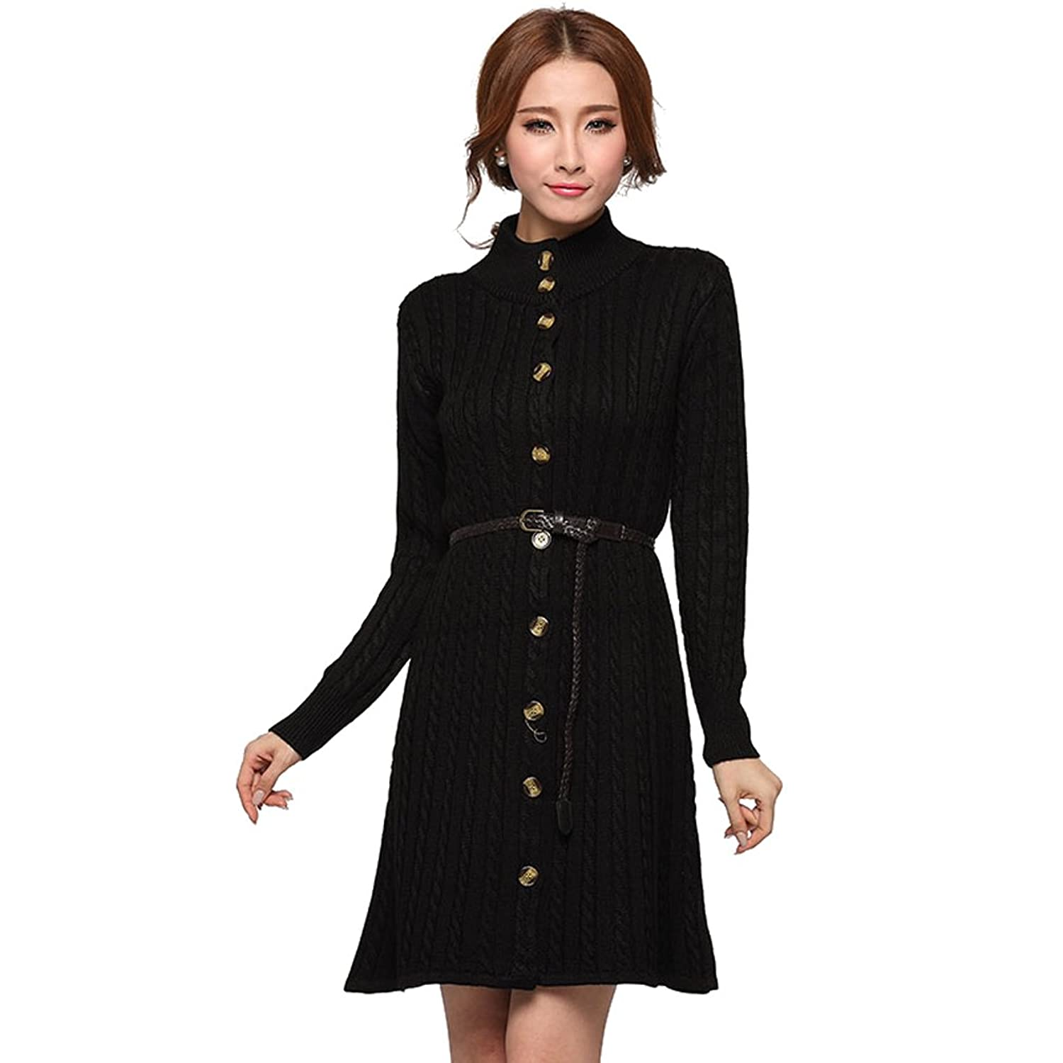 Women Thick Long Knitted Cardigan Sweater Coat With Free Waistband