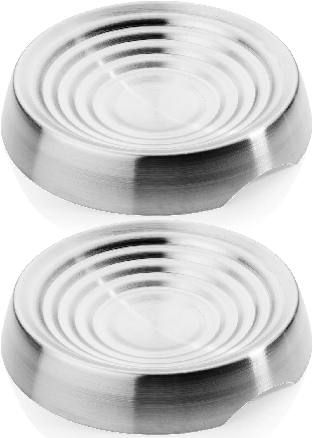 CatGuru Whisker Stress Free Cat Food Bowl, Reliefs Whisker Fatigue, Wide Cat Dish, Non Slip Cat Feeding Bowls, Shallow Cat Food Bowls, Non Skid Pet Bowls for Cats (Round - Set of 2, Stainless Steel)