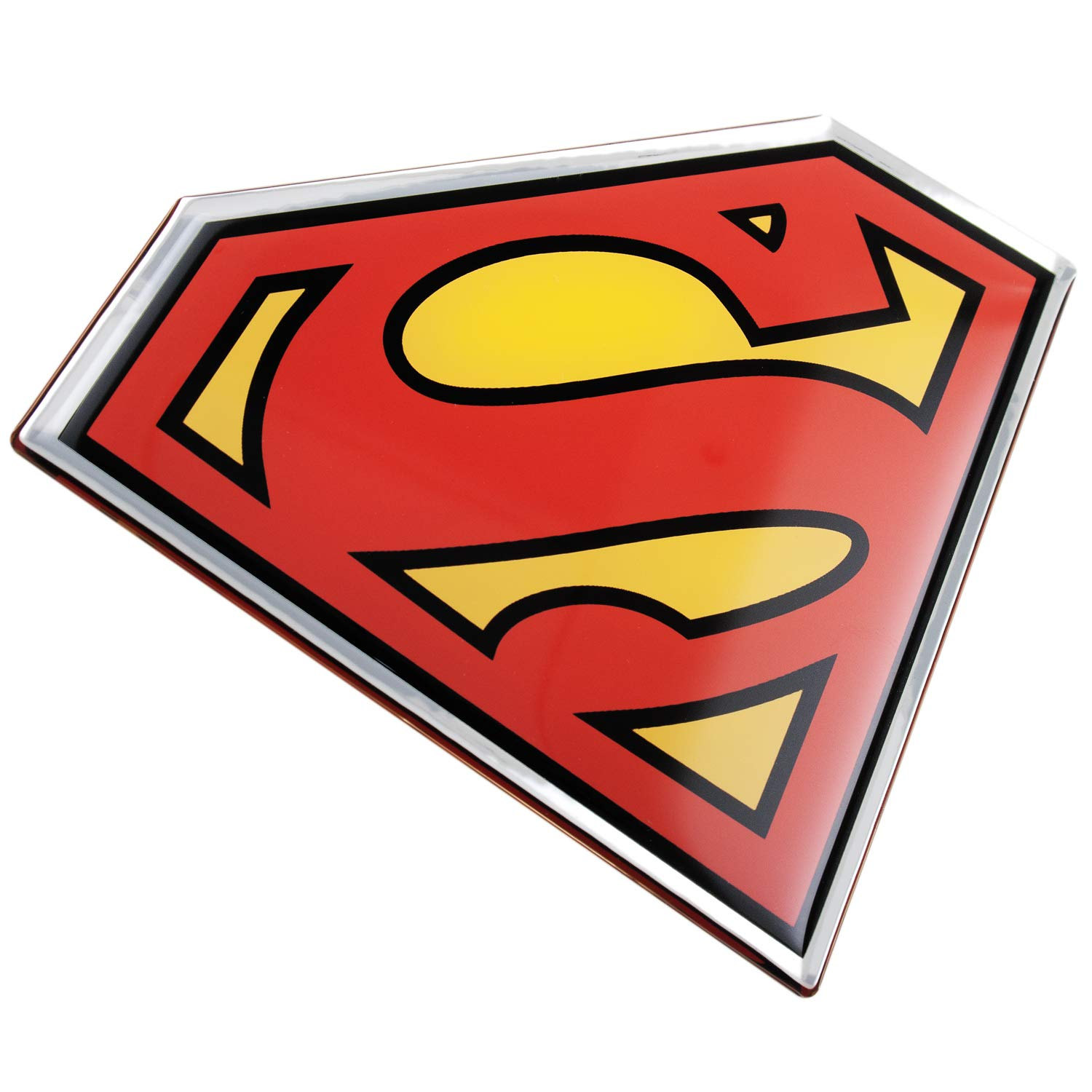 Fan emblems superman logo car decal domed black red yellow chrome finish dc comics automotive emblem sticker applies easily to cars trucks motorcycles