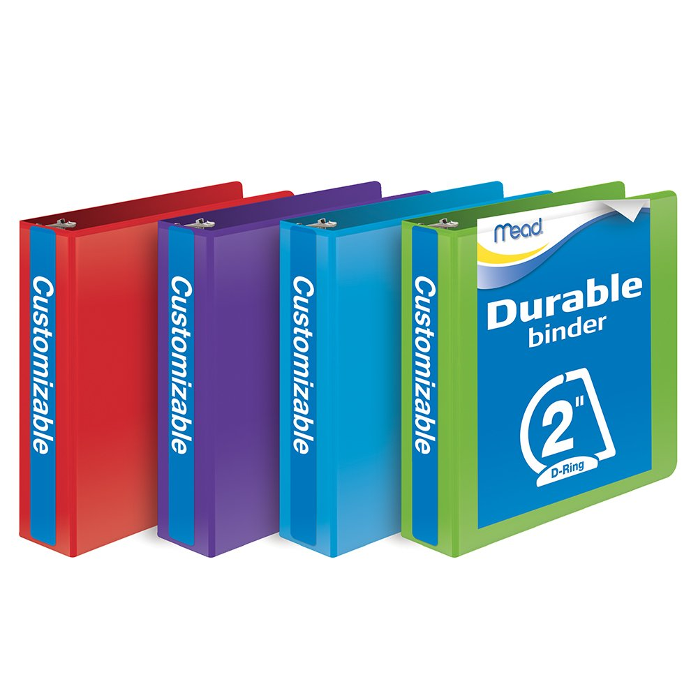 Mead 2 Inch Binder, D Ring Binder, Customizable, Assorted Colors, 4 Pack (W465-44APP) by Mead