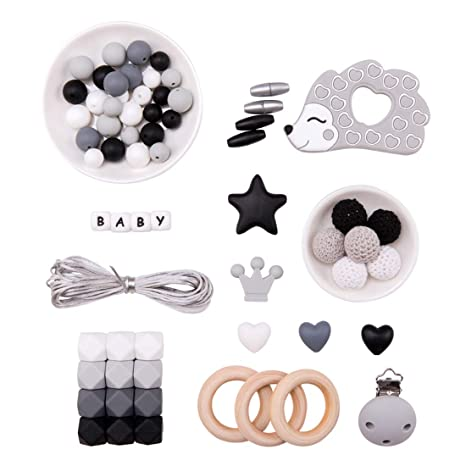 Promise Babe DIY Cuentas de Dentición Kit Set Cuentas Octogonales Anillo de Madera Erizo de Silicona Bebé Mordedor Masticar Joyería Clip de Chupete ...