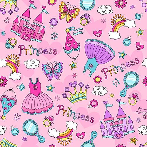 プリンセス誕生日パーティー背景スカート キャッスル ミラーダイヤモンド 女の子 ピンクパーティーデコレーション プリント生地 写真背景 8` by 8` GJ-25