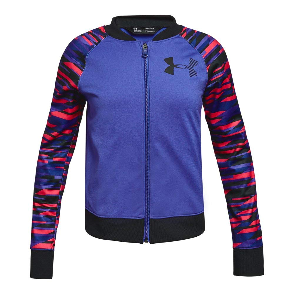 Under Armour Girls' Graphic Track Jacket, Constellation Purple (530)/White, Youth Medium by Under Armour