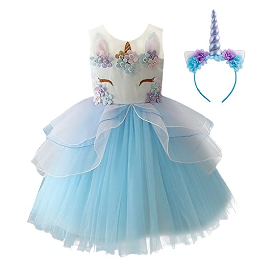 856d644416a4a Kid Girl Flower Tulle Birthday Unicorn Outfits Mythical Costume Cosplay  Pageant Tutu Princess Dress up Headband Party Gown