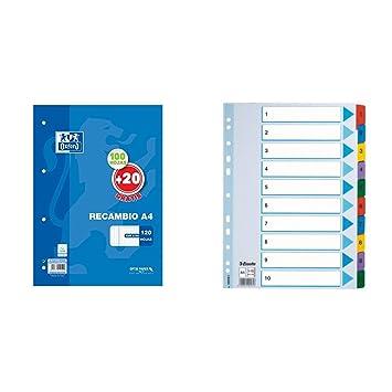 Oxford Classic 400058179 - Recambio hojas sueltas, A4 + Esselte Mylar- Separadores para archivador (A4, divisiones 1-10), multicolor: Amazon.es: Oficina y ...