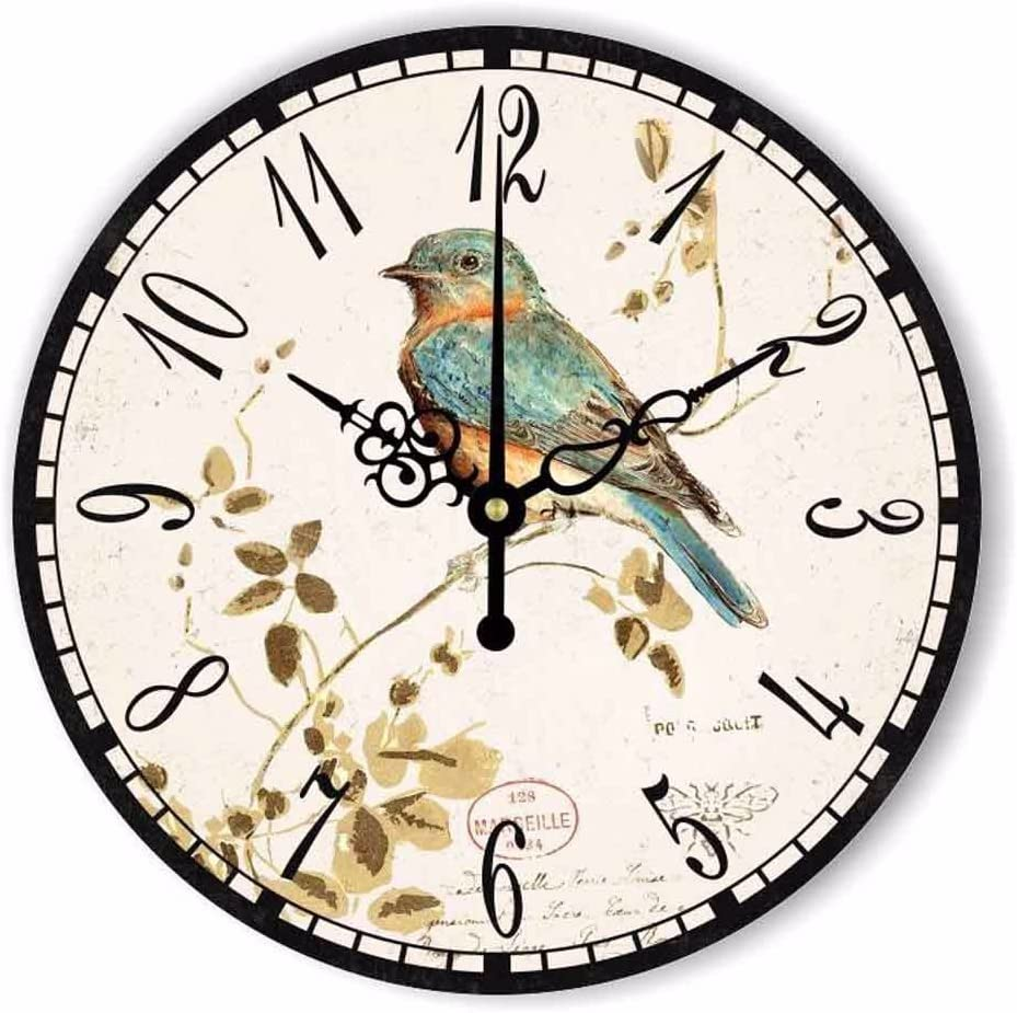 """WENXUAN 12"""" Retro Vintage Bird French Country Tuscan Style Non-Ticking Silent Wooden Wall Clock"""