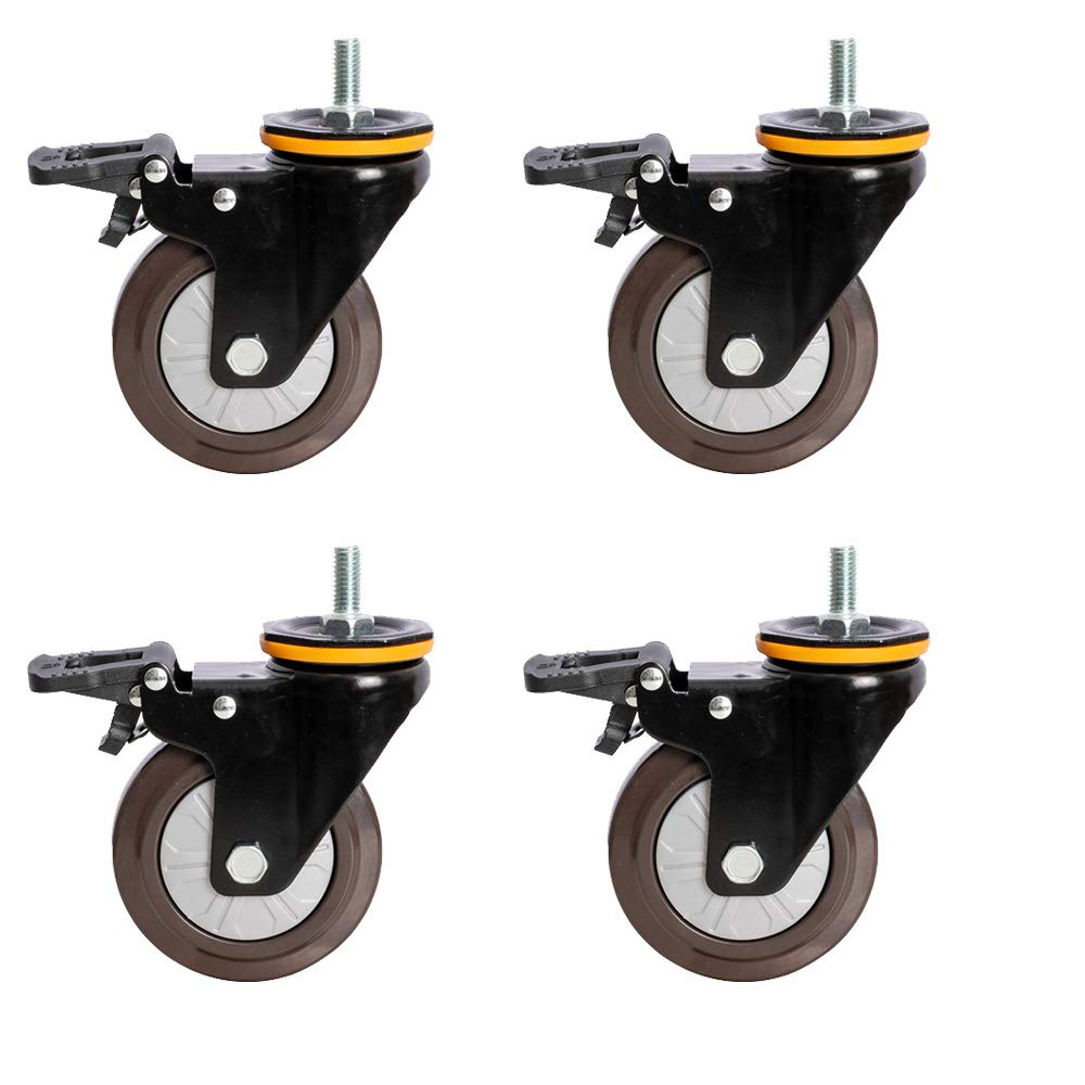 Ø3/4/5inch Dry Casters X4, M12 Household Rubber Casters, Mute/Wear Resistant for Office/Factory/Hospital by Furniture casters