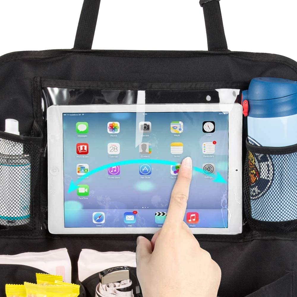 Findigit Car Backseat Organizer 2 Pack Waterproof and Durable Car Seat Protector Kick Mats Muti-Pocket Back Seat Storage Bag with Touch Screen Tablet Holder to Organize Toy iPad Bottle Snacks Books