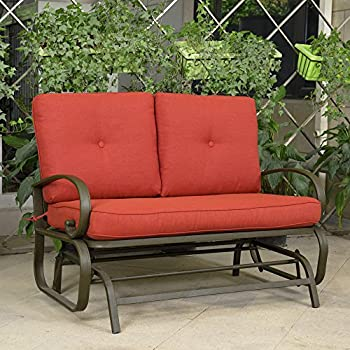 Cloud Mountain Outdoor Patio 2 Person Loveseat Cushioned Rocking Bench Furniture  Patio Swing Rocker Lounge Glider